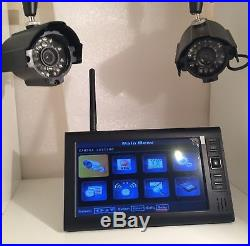 2 Wireless CCTV Camera Kit 7 LCD Monitor DVR Motion Detect Home Security System