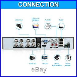 8 Channel 1080N AHD DVR Outdoor 1500TVL IR Video Recorder Camera Security System