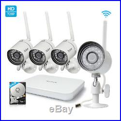 Funlux 4CH HDMI NVR 4 720p Wireless Home Video Security Cameras System 500GB HDD
