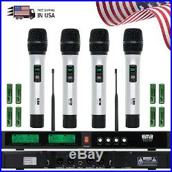 New EMB Audio 4 Channel Quad UHF Handheld Wireless Microphone System Mic 6-8 Hrs
