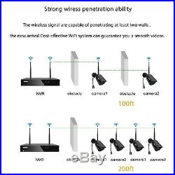 TMEZON 4CH Wireless 1080P NVR WiFi CCTV Camera Outdoor Home Security System Kit